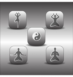 Icons of meditation poses vector