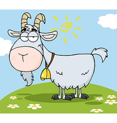 Goat cartoon character on a hill vector