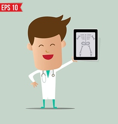 Doctor show a report - - eps10 vector