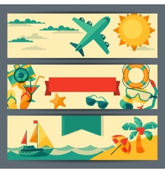 Travel and tourism horizontal banners vector