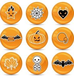Glossy halloween icons vector