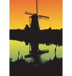 Windmill at sunset vector
