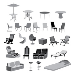 Furniture chairs tables and objects vector