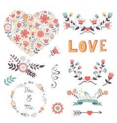 Elegant collection of romantic graphic elements vector