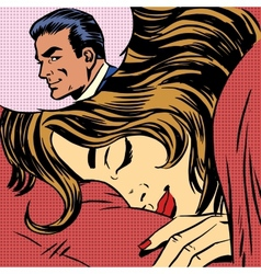 Dream woman man love romance lovers pop art comics vector