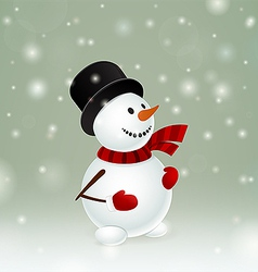 Snowman with red mittens vector
