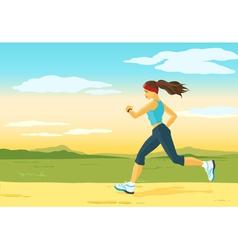 Running woman morning jogging vector