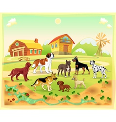 Landscape with group of dogs vector