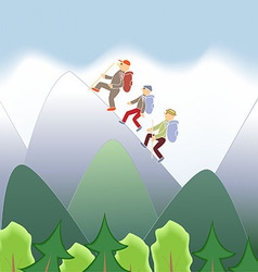 Men with backpacks are traveling mountains vector