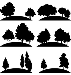 Set of different landscapes with trees vector