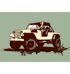 Vintage military vehicle vector