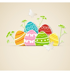 Eggs green grass vector