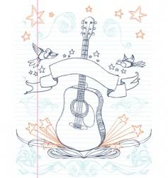 Guitar doodle vector