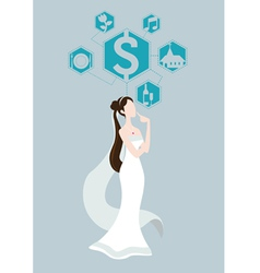 Bride thinking about wedding price vector