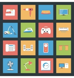 Home furniture and appliances flat icons set vector