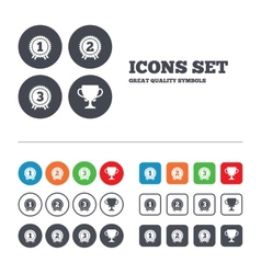 First second and third place icons award medal vector