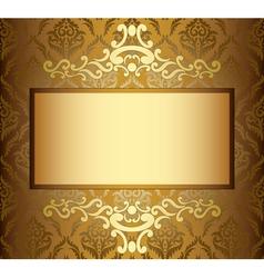 Beige vintage card with golden frame vector