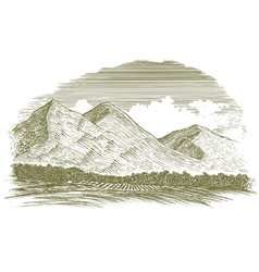 Woodcut rural mountain scene vector