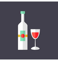 Wine bottle with glass christmas flat icon vector