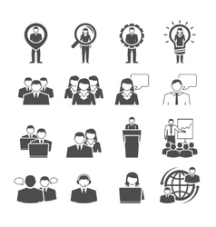 Business team demographic composition black icons vector