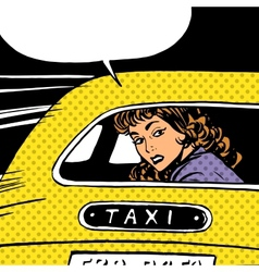 Woman goes to taxi looks around separation anxiety vector
