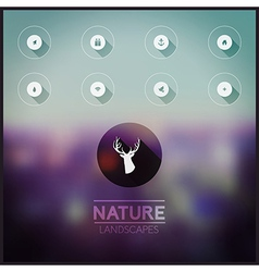 Blurred natural landscape icons long shadow on vector