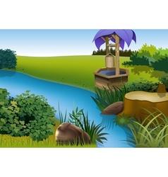 Summer landscape and rivulet vector