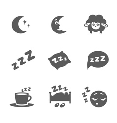 Isolated sleep icons set vector