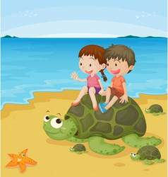 Kids on turtles vector