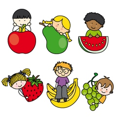 Children with fruits vector