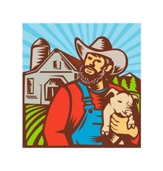 Pig farmer holding piglet barn retro vector