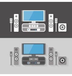 Modern home cinema entertainment with two color vector
