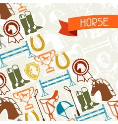 Background with horse equipment in flat style vector