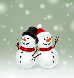 Two smiley snowman vector