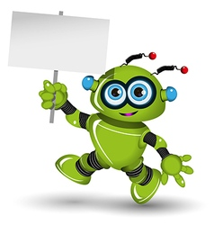 Robot with a white sign vector