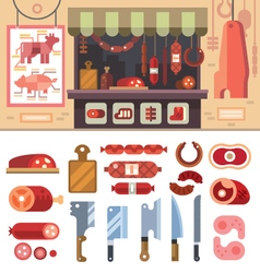 Food in the butcher shop vector