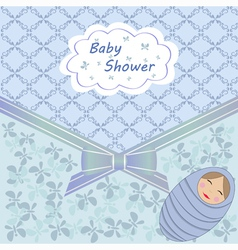 Blue baby shower with boy vector