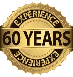 60 years experience golden label with ribbon vector