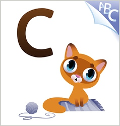 Animal alphabet for the kids c for the cat vector