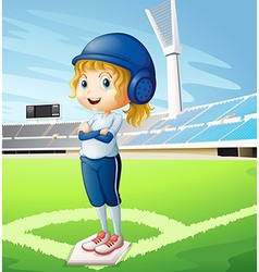 A female athlete with a blue uniform vector