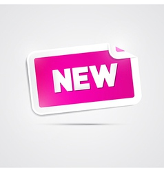 Pink sticker with new title on grey background vector