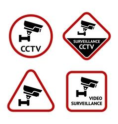 Video surveillance set sticky labels vector