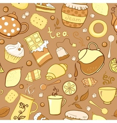 Tea and sweets seamless pattern in doodle style vector