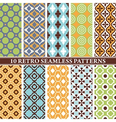 Set of 10 retro seamless patterns vector
