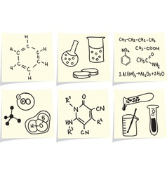 Chemistry and biology icons and formulas on yellow vector