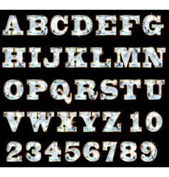 Font of precious stones and gold rim vector