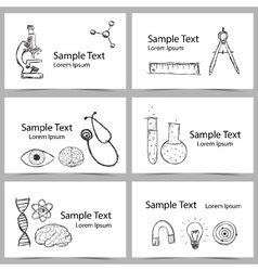 Set of science cards vector