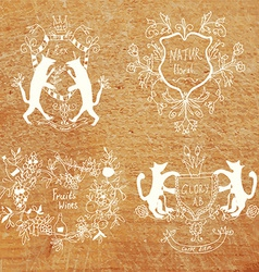 Coats of arms - hand drawn funny design vector