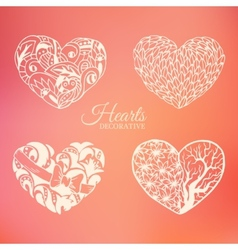 Ornamental decorative heart set on blurred vector