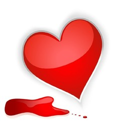 Heart and blood drops vector